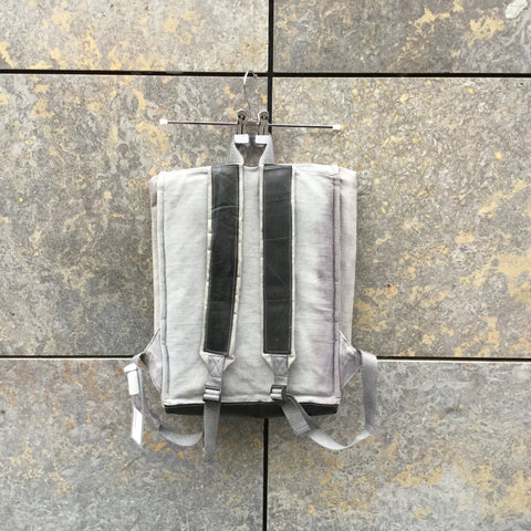 Light Gray Canvas Contemporary Foldsack Backpack Multi Pocket Size Os