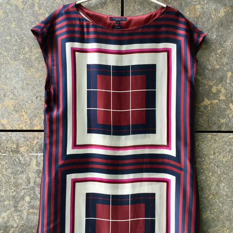 Red Berry-Midnight Blue Silk Tommy Hilfiger Midi Dress Wide Neck Size M/L