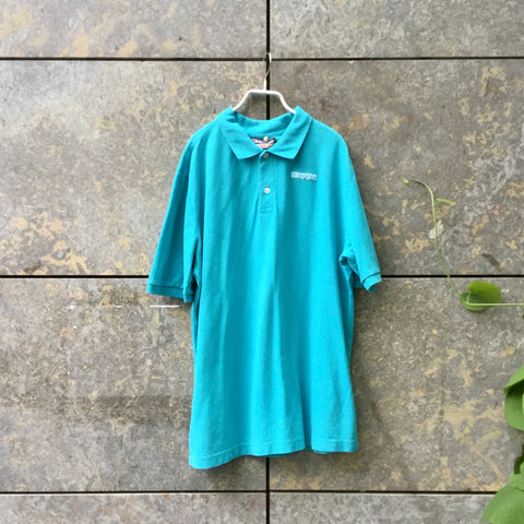 Turquoise Cotton Kappa Polo Shirt Oversized