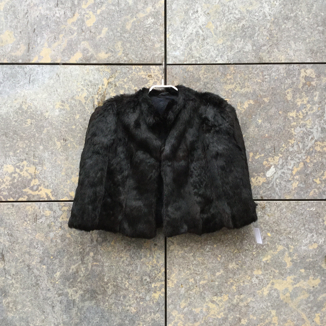 Black Fur Vintage Cape Adjustable Feature Size Os