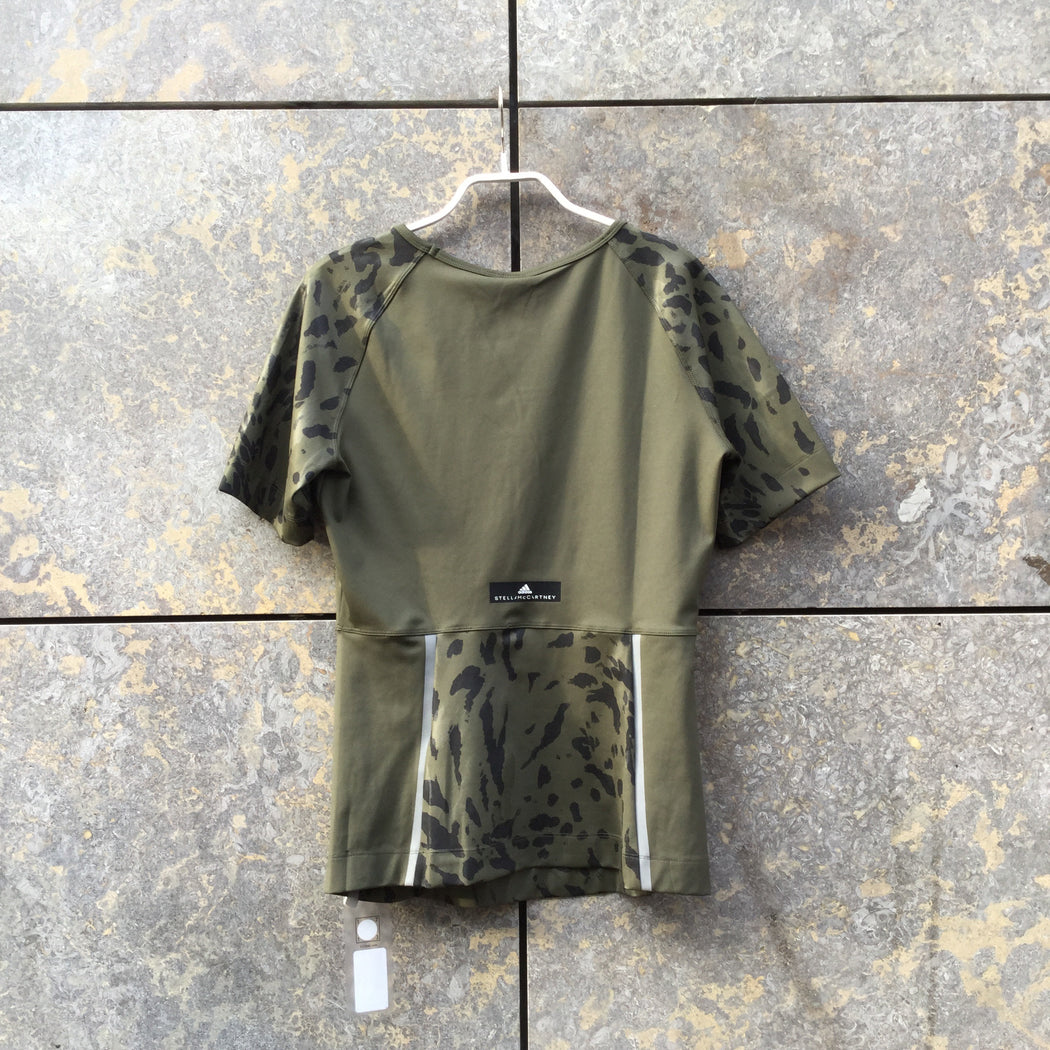 Army-Black Spandex Mix Adidas By Stella Mccartney Top short sleeve  Size M/L