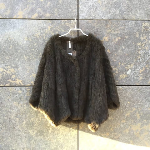Brown Fur Contemporary Designer Cape  Size Xl/Xxl