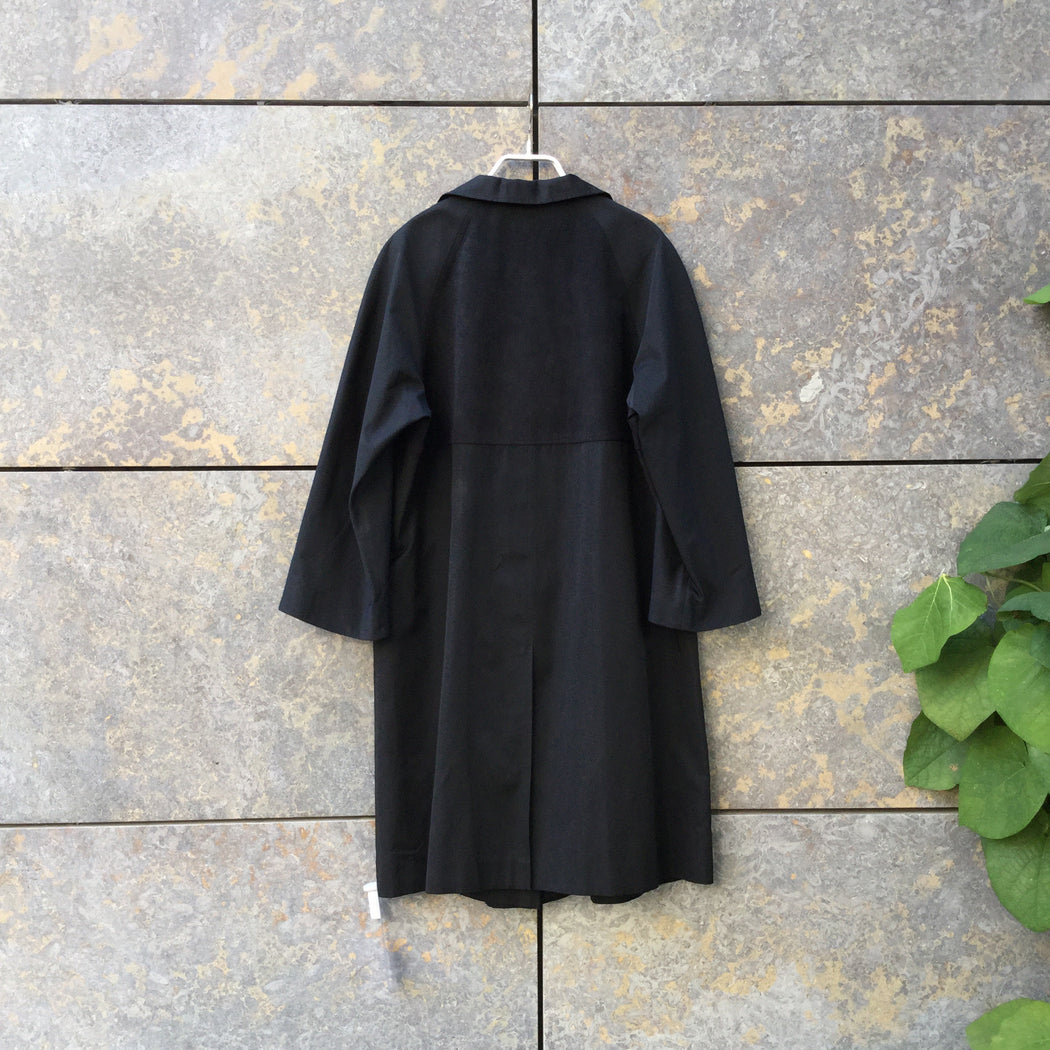 Black Cotton / Poly Mix Contemporary Trench Coat Boxy Size L/Xl