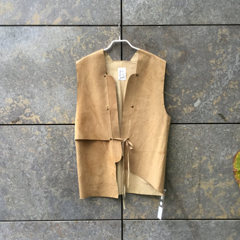 Mustard Leather Independent Vest Asymetric Size Os