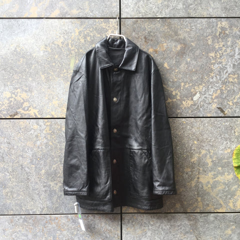 Black Leather Contemporary Main Leather Jacket Special Button Size L/XL