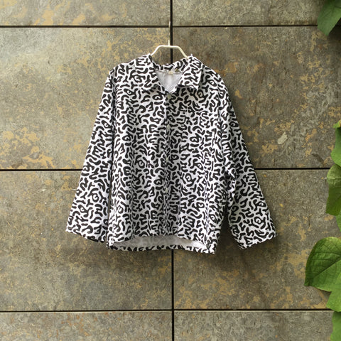 White-Black Cotton / Poly Mix Vintage Shirt Boxy Oversized Size Os