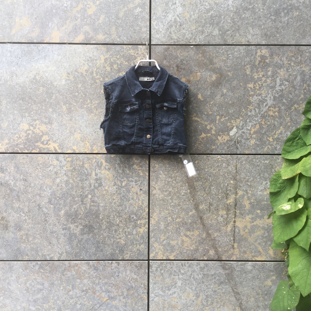 Midnight Blue Denim Topshop Vest Crop Multi Pocket Size L/XL