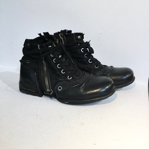 Black Leather / Canvas Mix Replay Ankle Boots Zippered Size 43