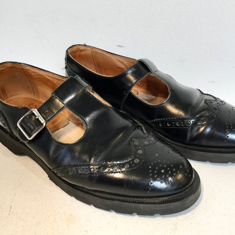 Black Leather Ymc Monk  Size 38