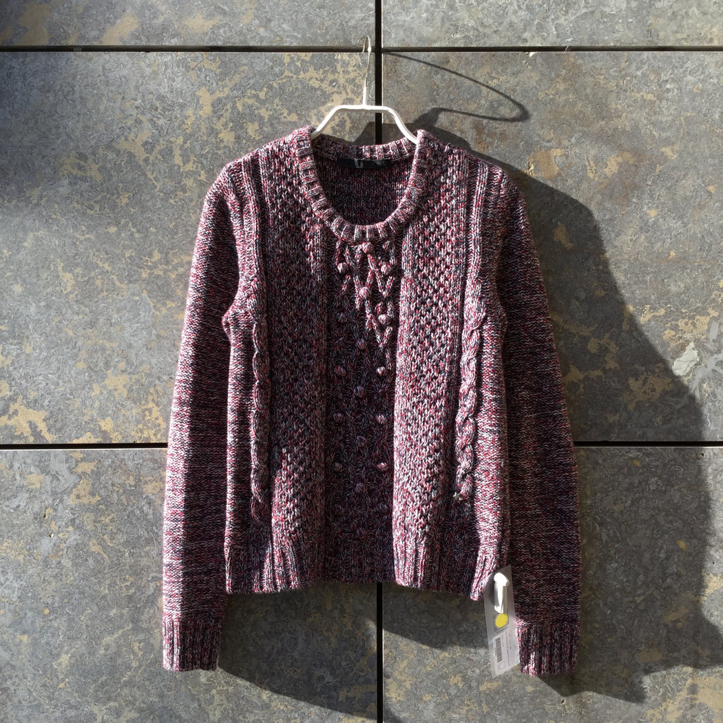 Dark Color Mix Cotton SET Sweater Puff Knit Size S/M
