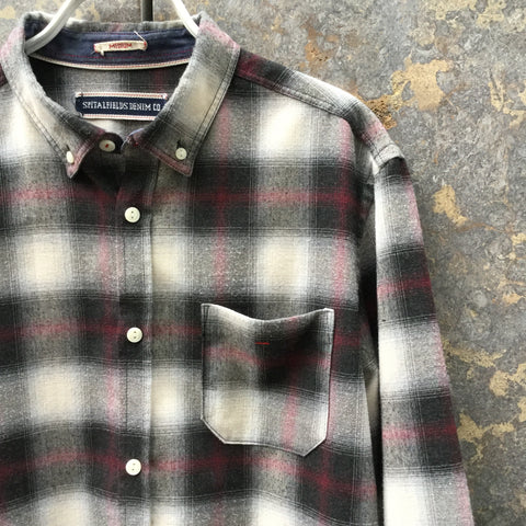 White-Black Rayon Mix Contemporary Flannel Shirt Pocket Detail Size M