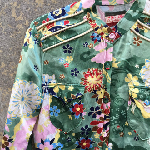 Colorful Rayon Mix Directional Vintage Shirt Shoulder Detail Size S/M