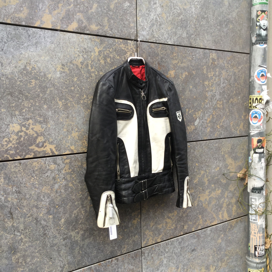 Black-White Leather Contemporary Biker Jacket Mandarin Collar Size S
