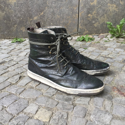 Black Leather Independent Designer High-Tops  Size 10