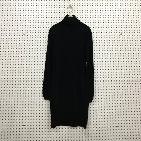 Black Cashmere Mix Vince Sweater Dress Turtle Neck Size S/M