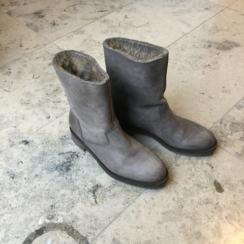 Grey Taupe Leather Hallhuber Boots  Size 38