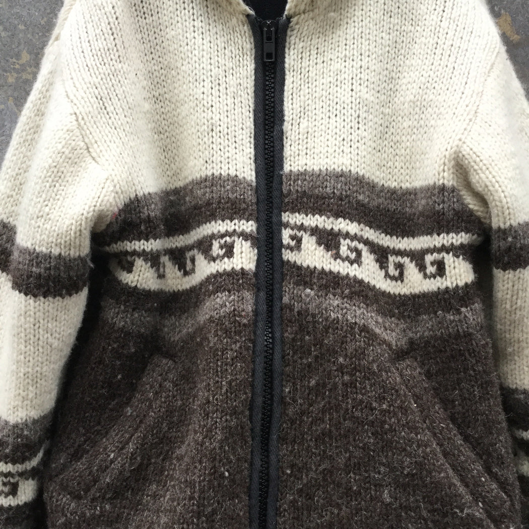 Brown-Straw Wool Contemporary Main Coat Hoody Size M/L