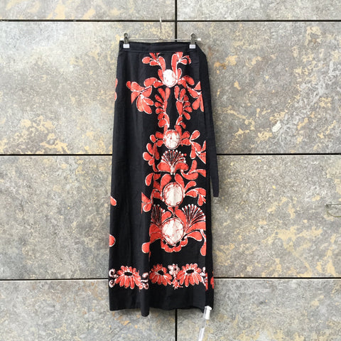 Black-Red Cotton Independent Wrap Skirt  Size Os