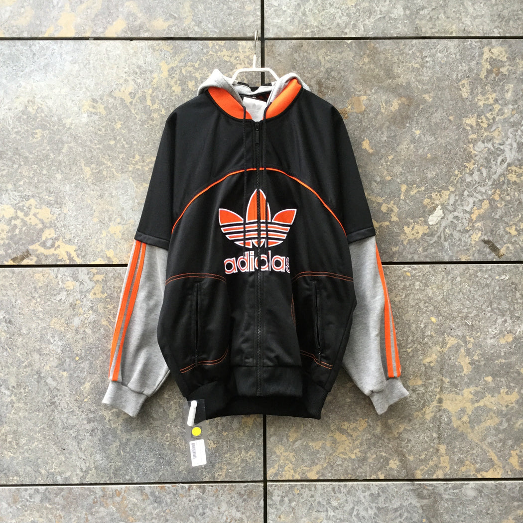 Black-Grey Cotton / Poly Mix Adidas Hoodie 3/4 Sleeve Size M/L