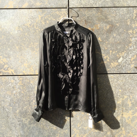 Black Silk See By Chloé Blouse Ruffled Collar Detail Size L/XL