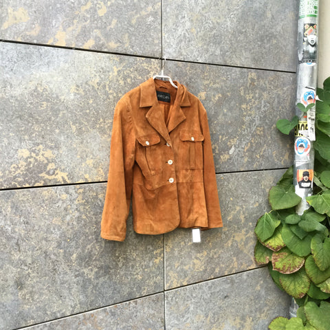 Tan Leather Contemporary Light Jacket  Size S/M