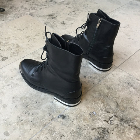 Black-Silver Leather Vintage Ankle Boots  Size 40