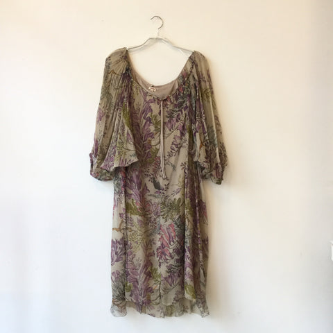 Beige-Light Mauve Silk Kenzo Doll Dress  Size M/L