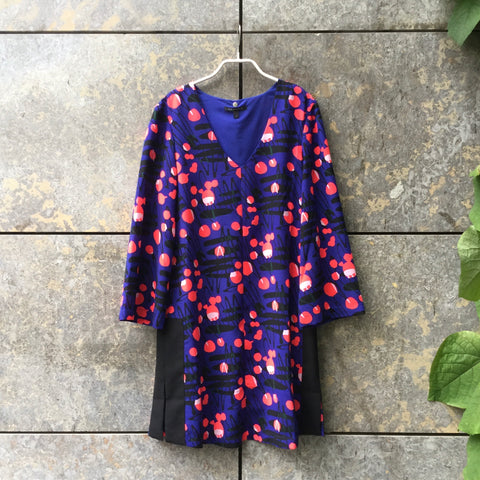 Dark Purple-Pink Polyester Mix Armani Exchange Cocoon Dress Deep V-Neck Size S/M