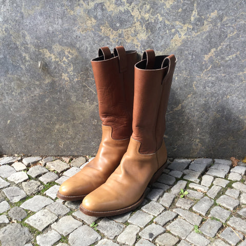 Tan Leather Miu Miu Cowboy Boots  Size 42