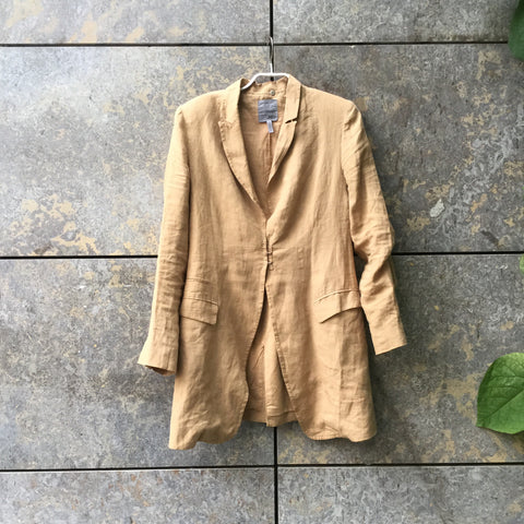 Caramel Cotton / Linen Mix JNBY Blazer-jacket Stitching Detail Size M/L
