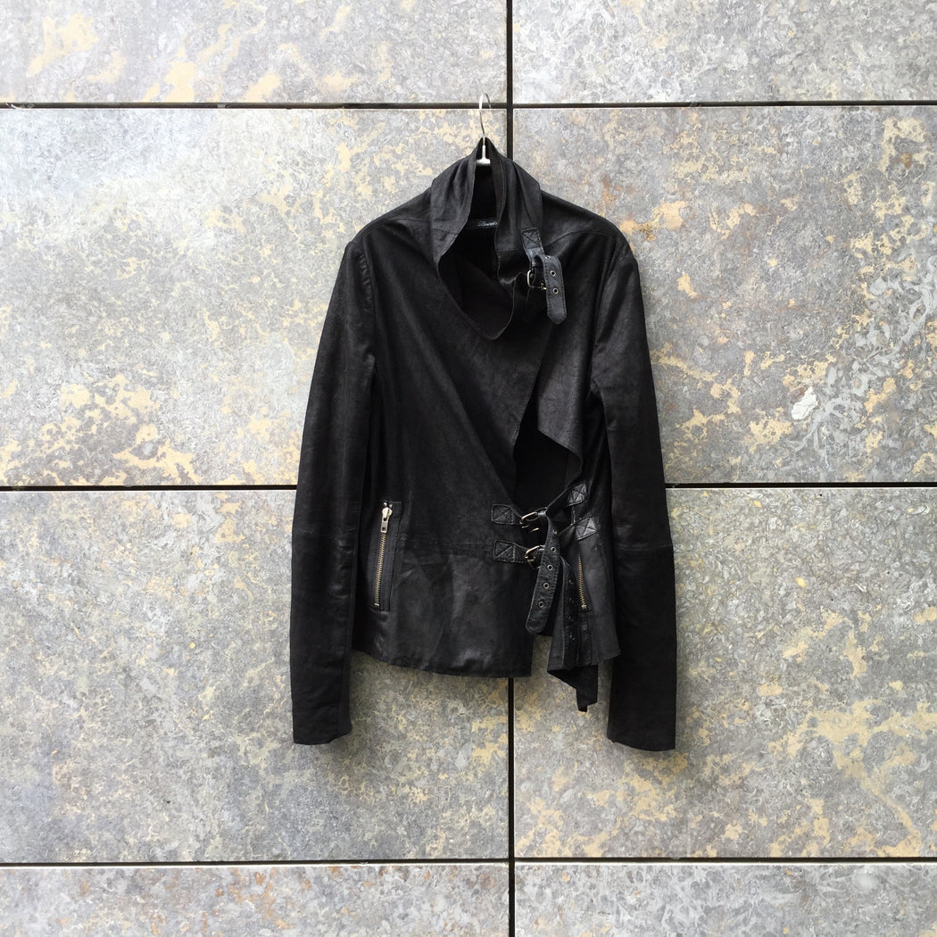 Black Cotton / Leather Mix Contemporary Main Light Jacket Buckled Size S/M