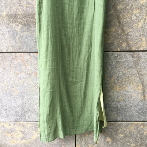 Pea Soup Green-Straw Polyester Mix Vintage Slip Dress  Size XL/XXL