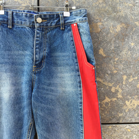 Denim Blue-Red Poly / Denim Mix ADER Error High Waist Jeans Conceptual Detail Size 32