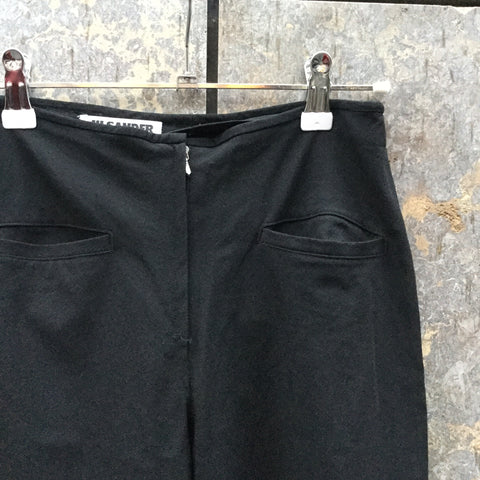 Black Wool Mix Jil Sander Trousers Wide Leg Crop Size 24/25