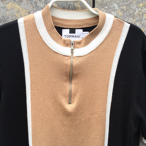 Black-Beige Rayon Mix Topshop Top SS Turtle Neck Size M