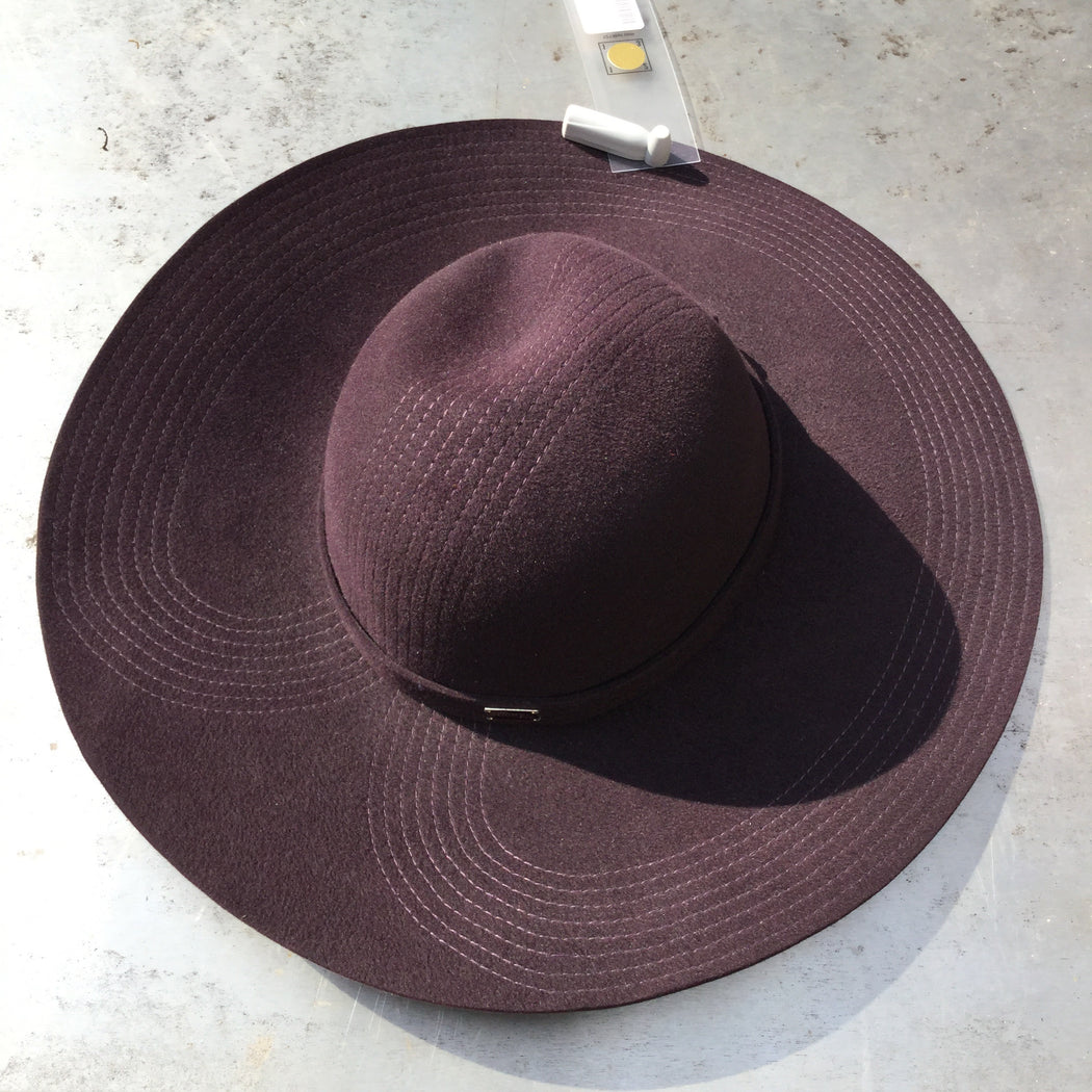 Midnight Purple Felt Contemporary Wide-brim Hat  Size 7 1/2