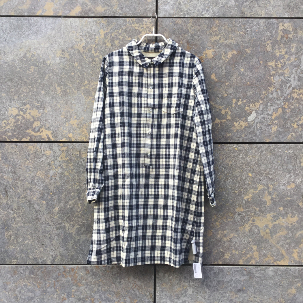 Navy-White Flannel A.P.C. ( womens ) Shirt Dress  Size Xs/S