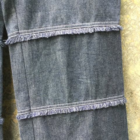 Midnight Blue Cotton Escada Straight Fit Jeans Fringy Stitching Detail Size 29/30