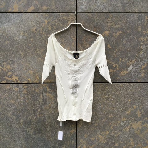 Cream Polyamide Just Cavalli Top SS Lace Detail Size Xs/S