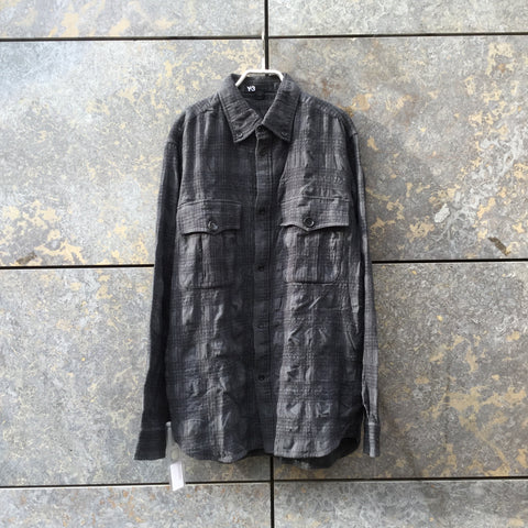 Grey-tones Wool Mix Y-3 Shirt Ripple Textured Size L/XL