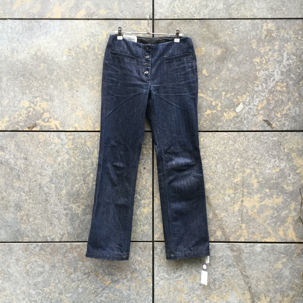 Dark Blue Denim Maison Martin Margiela Straight Fit Jeans Button Through Low Waist Size 29/30