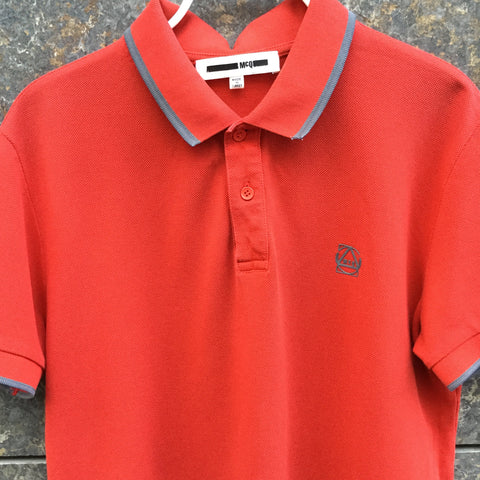 Red-Slate Cotton Mcq Alexander Mcqueen Polo Shirt  Size S/M