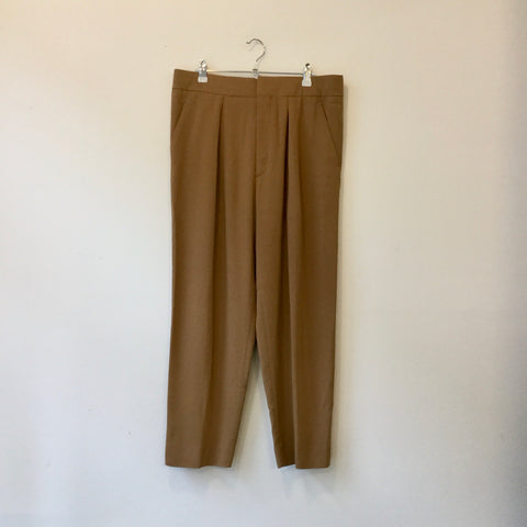 Khaki Rayon Sonia By Sonia Rykiel 3/4 Pants Pleated Size 29/30