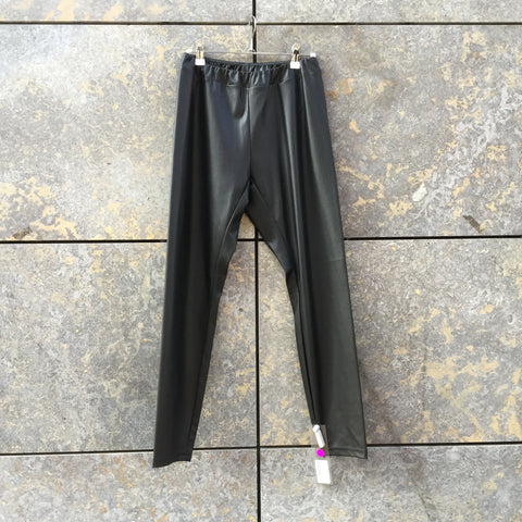 Black Polyurethane Someday Trousers Stretch Waist Size 28/29