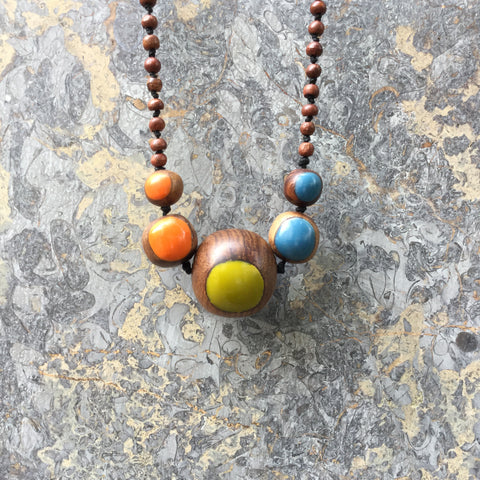 Colorful Wood Independent Necklace  Size Os