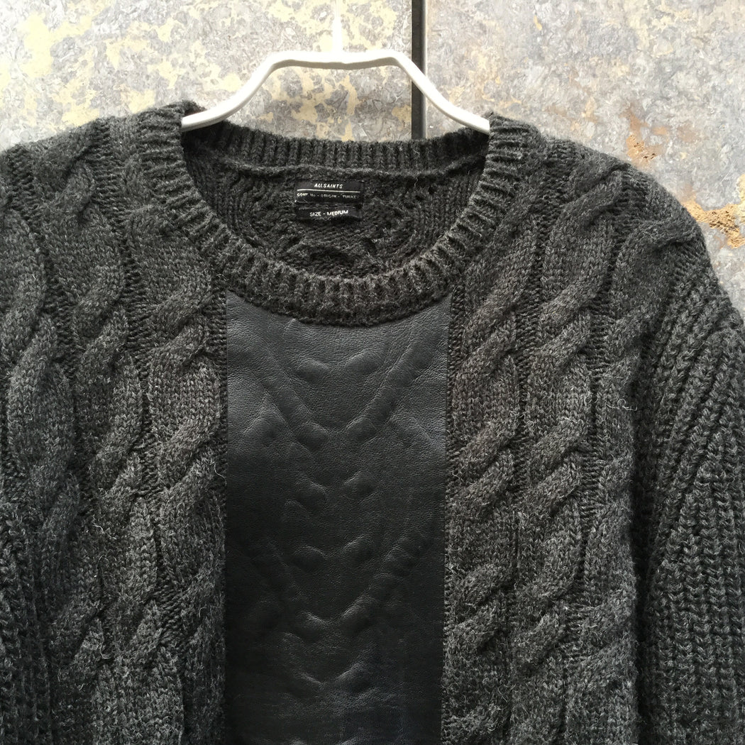 Dark Grey Leather / Acrylic Mix All Saints Sweater Conceptual Detail Size M