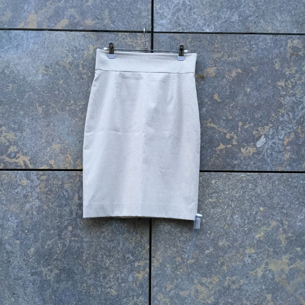 Beige-White Polyester Modern Contemporary Main Pencil Skirt  Size 28/29