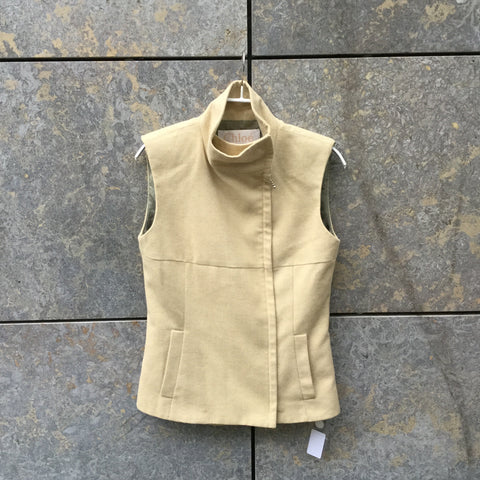 Straw Wool Mix Chloé Light Vest Mandarin Collar Size S/M