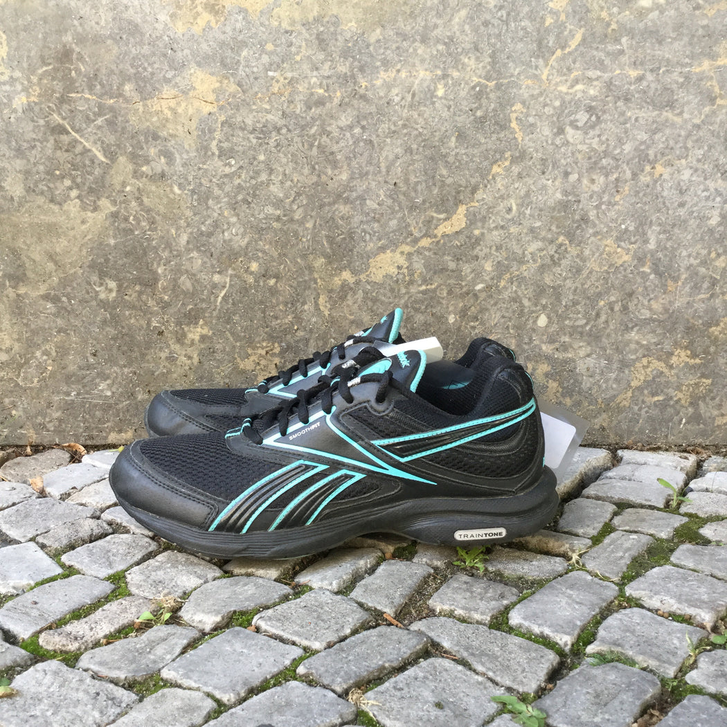 Black-Turquoise Synthetic Reebok Sneakers  Size 38