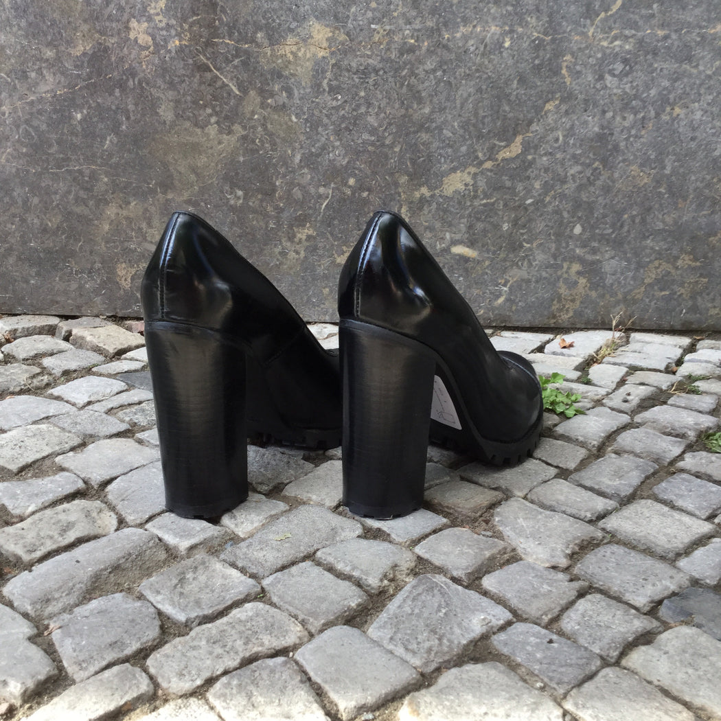 Black Leather Contemporary Main Pumps Heels Fat Heel Size 9